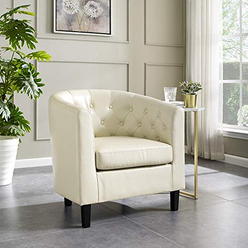 Naomi Home Emma Button Tufting Accent Arm Chair Cream