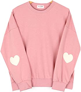 Cute Korean Styles Pink Pastel Heart Elbow Patch Pullover Sweatshirts Size M