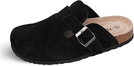 TF STAR Unisex Boston Soft Footbed Clog Cow Suede Leather Clogs, Cork Clogs Shoes for Women Men