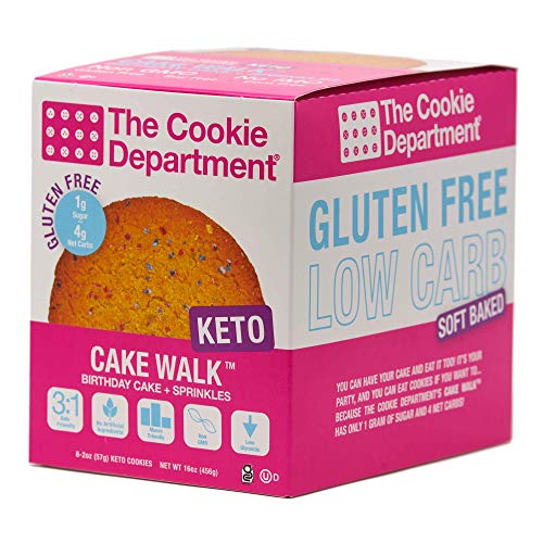 The Cookie Department - Keto Cookies, Gluten Free Certified, Non-GMO, Low Carb, No Sugar Added Snack Food (Cake Walk - Birthday Cake + Sprinkles, 2oz, Pack of 8)