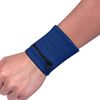 Muhcy Wrist Wallet (Wristband) with Zipper - Sports Wristband Wallet Sweatband with Zipper Pocket in Colors for Running, Walking, Basketball, Tennis, Hiking, Cross-Fit