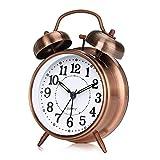 Reloj Despertador de Doble Campana, otumixx 4 Pulgadas Analógico Despertador de Cuarzo Silencioso Sin Tictac, Vintage Despertador con Luz de Noche, Marrón
