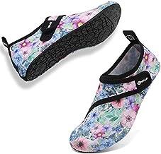 VIFUUR Womens Mens Water Shoes Adjustable Aqua Socks for Outdoor Swimming Beach Strap Flower 42/43