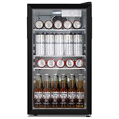 Antarctic Star Beverage Refrigerator Cooler - 100 Can Mini Fridge Glass Door for Soda Beer or Wine – Glass Door Small Drink Dispenser Machine 32°F- 61°F Adjustable Home, Office Bar, 3.2cu.ft.