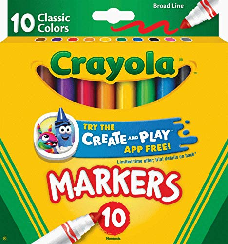 Non-Washable Markers, Broad Point, Classic Colors, 10/Set