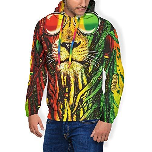 Men's Hoodie Cool Reggae Rasta Flag Lion #3 Hooded Sweatshirt Jumper with Hood with Fleece Black