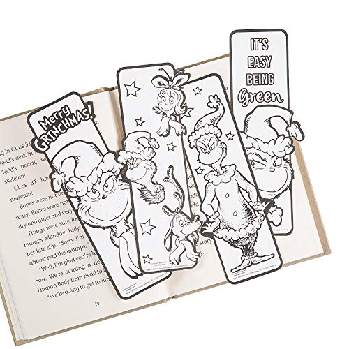 Color Your Own Grinch Bookmarks (48Pc) - Crafts for Kids and Fun Home Activities
