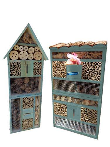 BTV 2X XXL insektenhotel - Bienenhotel, TÜRKIS meeresblau blau 2 x Bienenhotels, Spitzdach/Flachdach 2X hohe Form, Insektenhaus + Bienenhaus mit Bienentränke, insektenhotel, Schaukasten Insekten