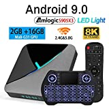 Android TV Box 9.0 2GB 16GB Amlogic S905X3 Set Top TV Box Support 3D 4K 8K USB 3.0 2.4GB 5.8GB Dual Band WiFi with LED Light BT 4.1 and Backlit Wireless Mini Keyboard Streaming Media Player
