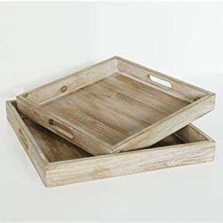 EMAISON Wood Serving Tray 14 x 14 Inch Rustic Square Nesting Trays with Handles-for Breakfast, Kitchen Counter, Coffee Table, Bed Table, Ottomans, Set of 2, Nature