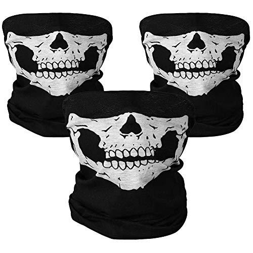 REYOK 3 Stück Gesichtsmaske,Röhren Gesichtsmaske fürs Motorrad, Totenkopf-Aufdruck schwarz, nahtlose, mit Totenkopf-Motiv, Bandana