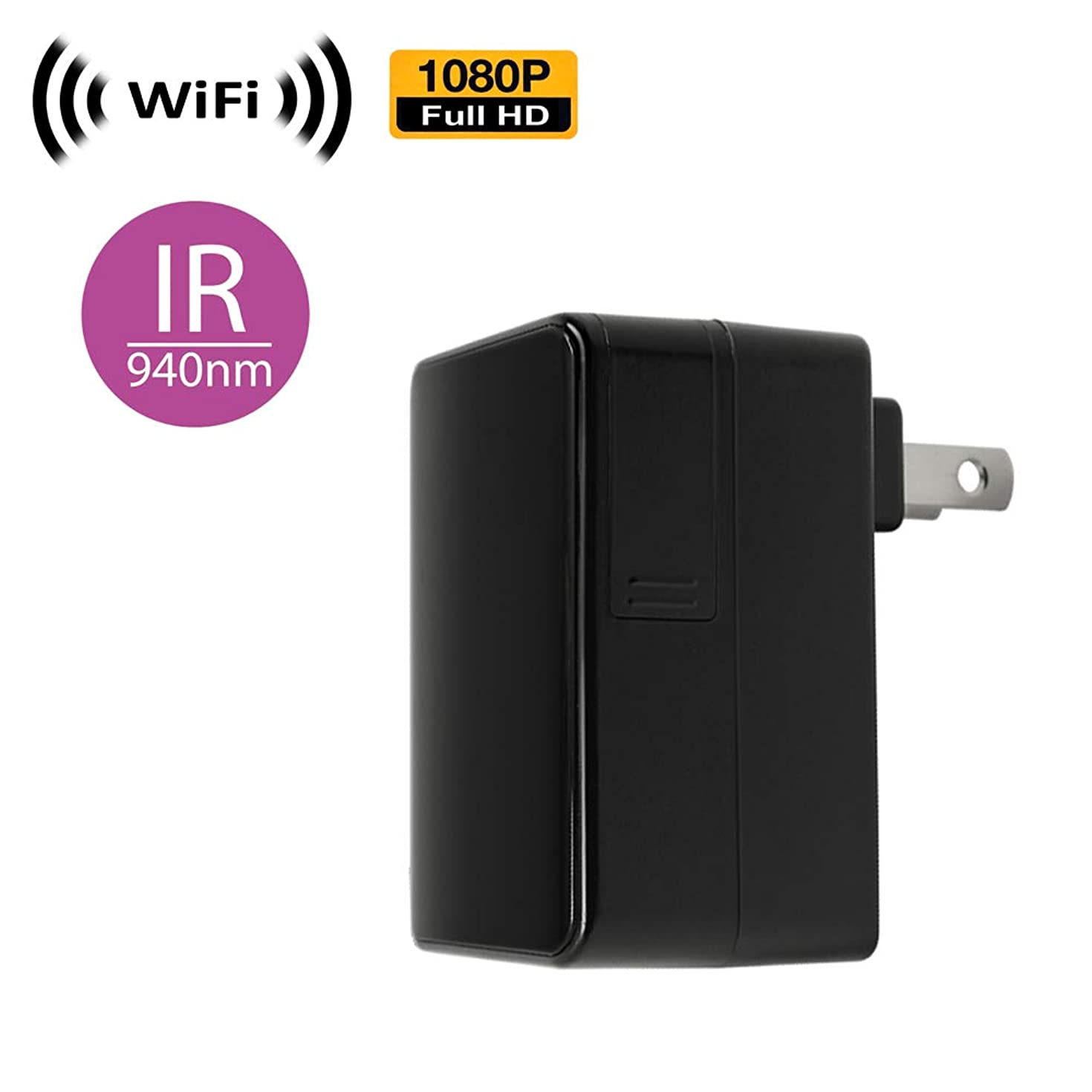 WiFi Spy Camera with Recording & Remote Internet Access; Black Box Style with Pinhole Lens (Flushed)