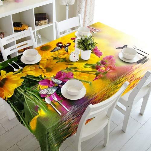 XXDD Mantel de Navidad 3D Colorido patrón de Flores Lavable Rectangular Mantel para Boda A5 150x210cm