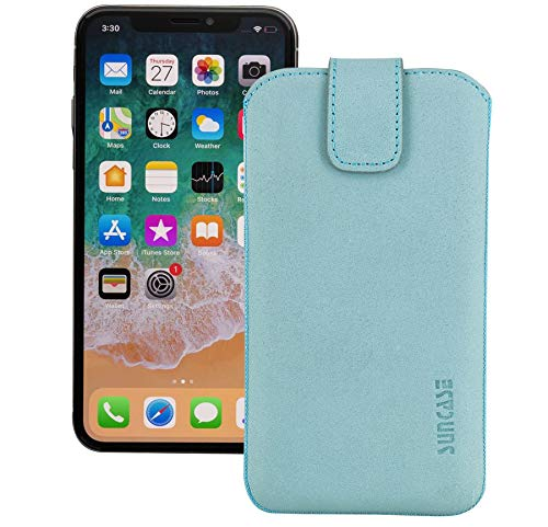 Suncase ECHT Leder Tasche kompatibel mit iPhone 12 Pro (6.1