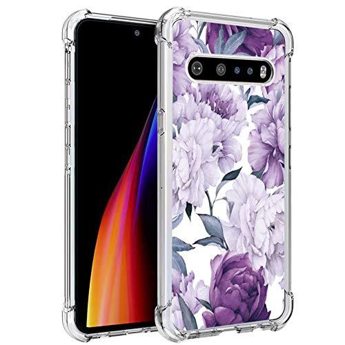 Ryphez für LG V60 ThinQ 5G Hülle, LG V60 ThinQ 5G Handyhülle, Schutzhülle für LG V60 ThinQ 5G, flexible Schutzhülle aus TPU mit modischem Blumenmuster für LG V60 ThinQ 5G, Violette Blume