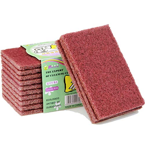 ONDY Nylon Emery Scouring Pads Kitchen Cleaning Cloth Dish Scrubber Household Scrub Pads for Stove Top Cleaner and Kitchen Scrubbers Rust Decontamination Brush (10Pack)