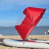"""SparY Grande 42"""" Kayak Viento Vela Paleta, Canoa Instant Vela Juego, Plegable a Presión Tabla Viento Paleta para Kayaks,Canoas,Inflables,Tándems - Rojo, 108x108cm"""