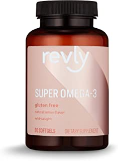 Amazon Brand - Revly Super Omega-3 Wild-Caught Fish Oil with Natural Lemon Flavor - EPA, DHA Omega 3-Fatty Acids - 90 Softgels (1280 mg per serving, 2 Softgels), Satisfaction Guaranteed