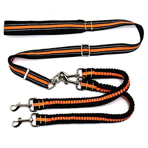Pet Online Cuerda de tracción de dos cabezas para mascotas, una para dos, cuerda telescópica reflectora de tracción para perros, tracción principal de 50-100 cm, tracción de primavera de doble cabeza: 70-110 cm