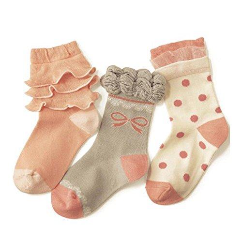 Butterme Bébés filles 3 Paires De Chaussettes En Coton Chaussettes Antiderapants Souple chaussettes en dentelle