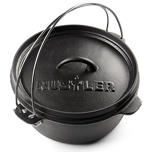 Rustler Dutch Oven Feuertopf / Schmortopf mit Deckel und Edelstahl Henkel | aus Gusseisen | 3,75 Liter | für Feuerstelle, Grillplatz oder Lagerfeuer | mit Emaille-Beschichtung |25,6 x 10 cm
