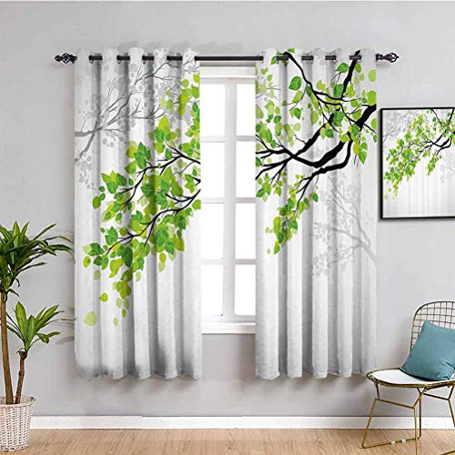 Nature Decor - Cortinas negras para dormitorio Twiggy Spring Tree Ranch con hojas refrescantes Verano Peace Woods Graphic Protective Furniture Green Grey W52 x L84 pulgadas