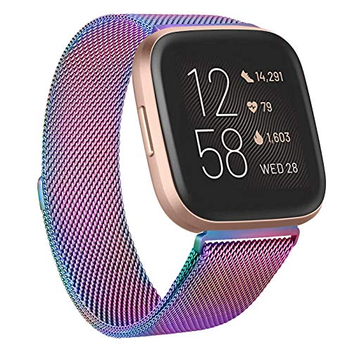 ZHIX Compatible con Fitbit Versa 2, pulsera Fitbit Versa, correa de metal ajustable de acero inoxidable para Fitbit Versa/Versa 2/Versa Lite/Versa 2 SE., L,