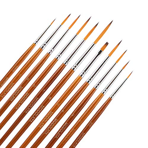 Miniature Model Paint Brush Set - 11 Pieces Fine Detail Painting Brushes for Art Painting - Acrylic, Watercolor, Gouache, Oil - Airplane Kits, Ceramic, Warhammer 40k