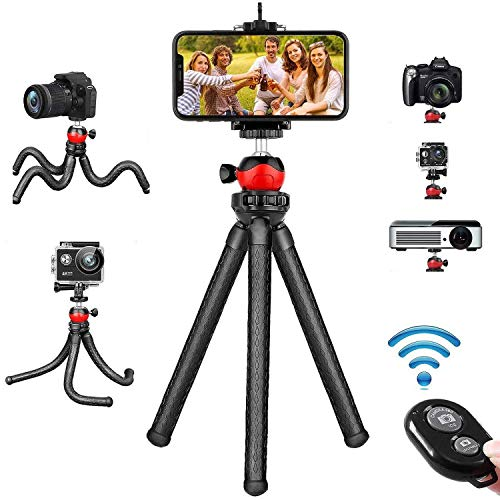 Phone Tripod, Flexible Tripod Cell Phone Camera Tripod Stand with Wireless Remote Compatible for iPhone/Android/DSLR Camera/GoPro, iPhone Tripod Stand for Live Streaming Selfie Video Recording
