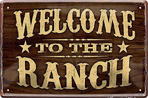 """Cartel de chapa con texto """"Welcome to The Ranch Western Cowboy"""", 20 x 30 cm, 375"""