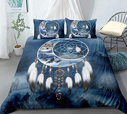 HDBUJ Dream Catcher And Moon Duvet Cover, Polyester Bedding Set, Easily Removable By Zipper, Two Pillowcases 200X200Cm