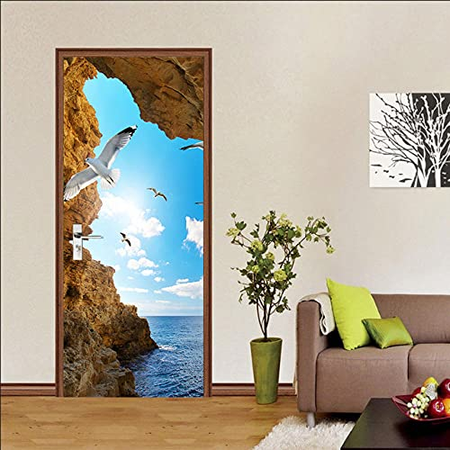 YQLKD Wallpaper Murales 3D Papel Tapiz Autoadhesivo para Puerta con Paisaje De Cueva Junto Al Mar, Mural De Póster para El Hogar De PVC