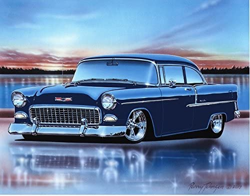 Amazon Com 1955 Chevy Bel Air 2 Door Sedan Hot Rod Car Art Print Blue 11x14 Poster Posters Prints