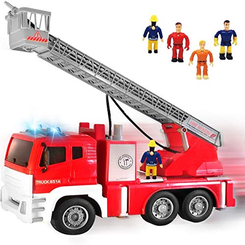 FUNERICA Interactive Fire Truck Featuring 5 Fireman with Water Hose on Extending Ladder, Flashing Lights & Siren Sounds, Friction Powered Fire Engine, Best Kids Toy and Boys Gift