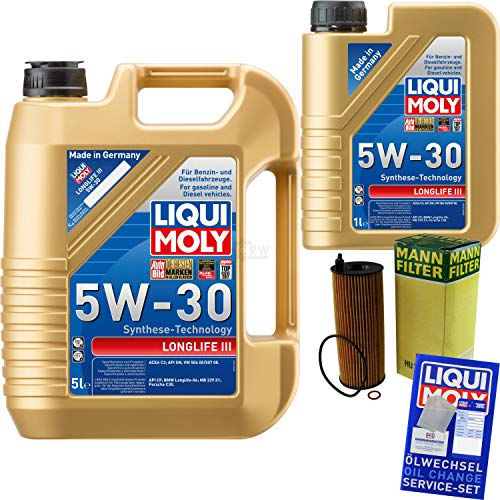 Filter Set Inspektionspaket 6 Liter Liqui Moly Motoröl Longlife III 5W-30 MANN-FILTER Ölfilter