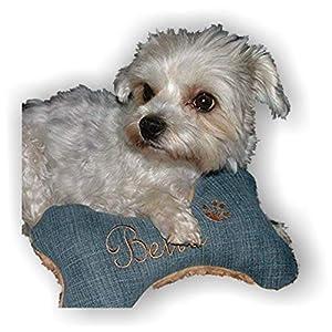 Hunde Spielzeug XXS XS S M L XL XXL Kissen Knochen Hundeknochen Quietscher Jeans hellblau bestickt Name Wunschname…