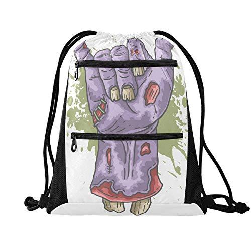 Halloween-Rucksack mit Kordelzug – Zombie-Hand und Herz, Halloween-Sporttasche, Sport-Rucksack für Wandern, Yoga