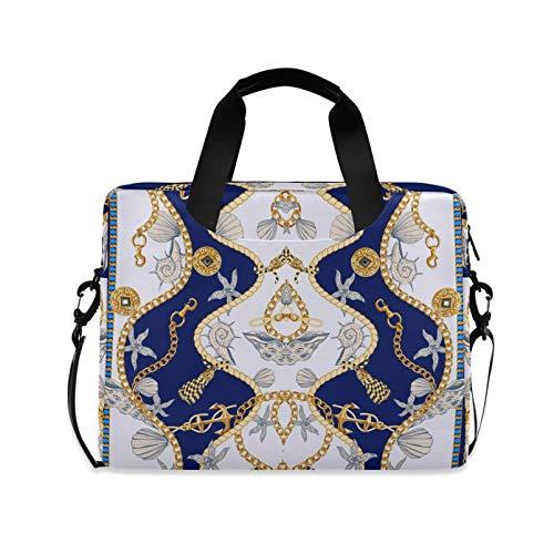 RELEESSS Laptop-Hülle, Vintage-Ketten, Anker, Laptop-Handtasche, Aktentasche, Kuriertasche, Tragetasche, Tasche, verstellbarer Schultergurt für 33-40,6 cm (13-16 Zoll)