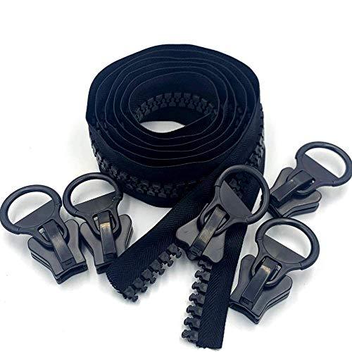 WKXFJJWZC Bulk 1,8 m negro 14 mm de ancho dientes, con 5 piezas deslizantes 20 # Super grande plástico resina cremallera, para costura, manualidades, bolsos, tiendas de campaña, cubierta de lona