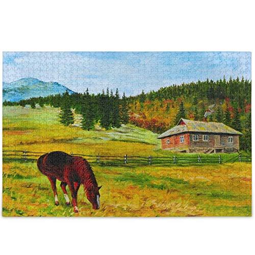 Rompecabezas de 500 piezas de pintura rural de montaña para adultos y niños