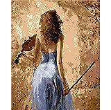 Mädchen Spielt Eine Geige Modernes Ölgemälde Bild Cuadros Decoracion Malen Nach Zahlen Auf Leinwand Wandkunst Frameless 40x50cm/16x20in