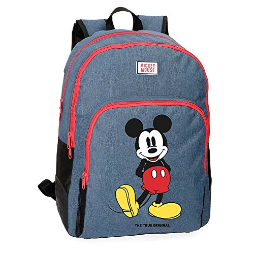 Mochila Mickey Blue 42cm doble compartimento