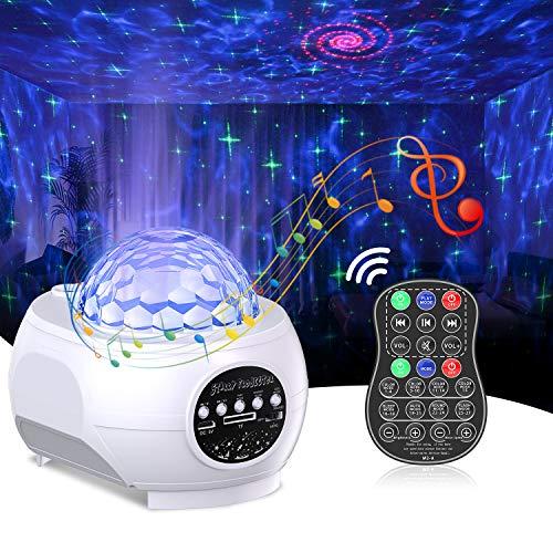 Sternenhimmel Projektor mit 3 Projektionswinkel, Cocoda Nachtlicht Baby LED Sternenhimmel Lampe mit Eingebauten Bluetooth-Lautsprecher & Wireless Fernbedienung für Kinder Weihnachten Party Heimkino