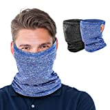 MoKo Neck Gaiter Face Mask with Filter Pocket for Women Men, 2 Pack Bandana Face Mask with Ear Loops Balaclava UV Sun Protection Face Cover Scarf for Dust Wind Outdoors Motorcycle Cycle Skating