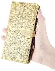 TYWZ Portemonnee Case voor iPhone 11 Pro Max, Card Slot Bekijken Stand Shockproof TPU Inner Case PU Lederen Magnetische Bescherm Flip Cover Embossing Bloem-Goud
