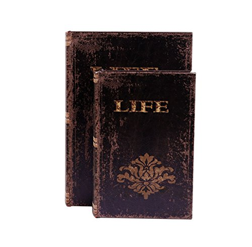 WaaHome Decorative Book Boxes Faux Wood Leather Book Box For Home Decorations,Gifts, Set of 3, Large 11.8'' Mid 9.4'' Small 7.5''