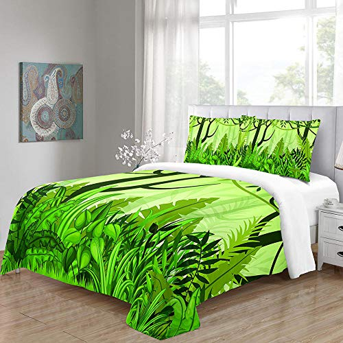 RYQRP Super King Duvet Cover Set Green Forest Printed Quilt Cover Bedding Set 3pcs with Zipper Closure in 100% Polyester for Children Kids Teens Adults, 1 Quilt Cover 260x220cm with 2 Pillowcases