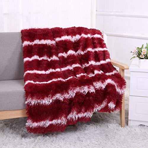 LINDANIG Streifen-Pelz-Wurfs-Decke für Bett-Couch-Stuhl Daybed - Warmer eleganter gemütlicher flockiger flaumiger Kunstpelz-Plüsch passend für Fall-Winter-Sommer-Frühling