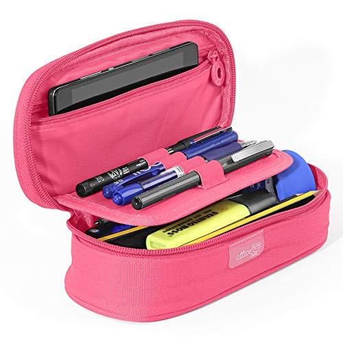 PracticOffice ColorLine 59711 Fourre-tout de grande capacité, étui multifonction pour matériel scolaire Bleu foncé, dimensions : 21 x 9 x 5,5 cm