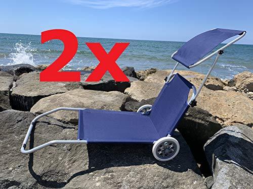 MLI Set 2 Spiaggine Trolley Blu con Tetto 85103 Lettini da Spiaggia con Ruote Sdraio Prendisole Pieghevoli con Parasole Schienale Regolabile